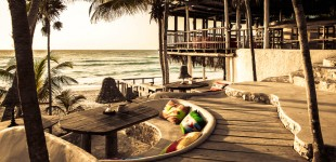 Beach bar and lounge at Papya Playa Project in Tulum, Mexico