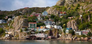 The cute and colourful Jellybean Harbour in St John's, Canada