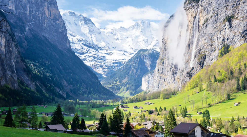 The spectacular Lauterbrunnen Valley, near Grindelwald in the Bernese Alps.