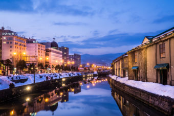 Otaru canal at night, Japan.