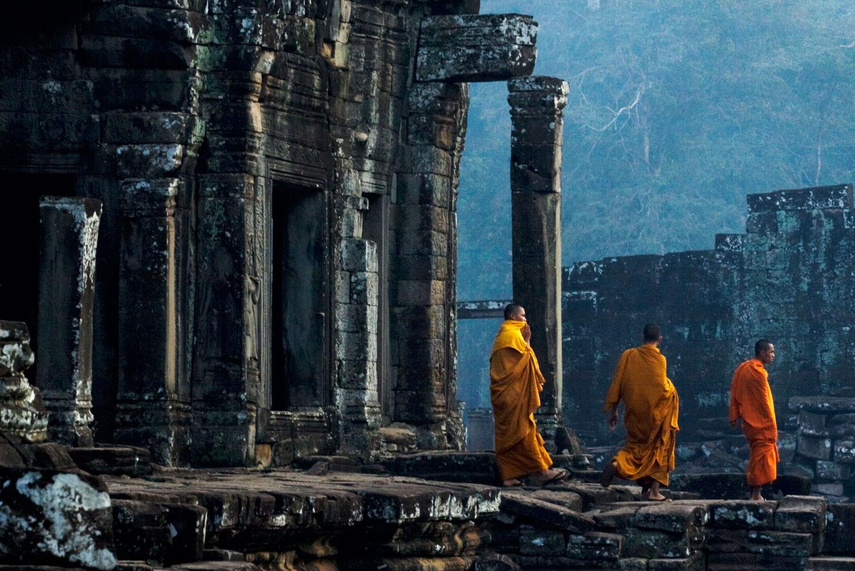 Monks visiting Angkor Thom in Cambodia