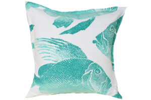 Batik Aqua Fish cushion, $35