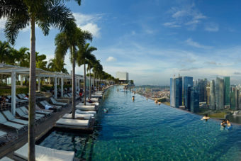 The rooftop pool at Marina Bay Sands, Singapore.