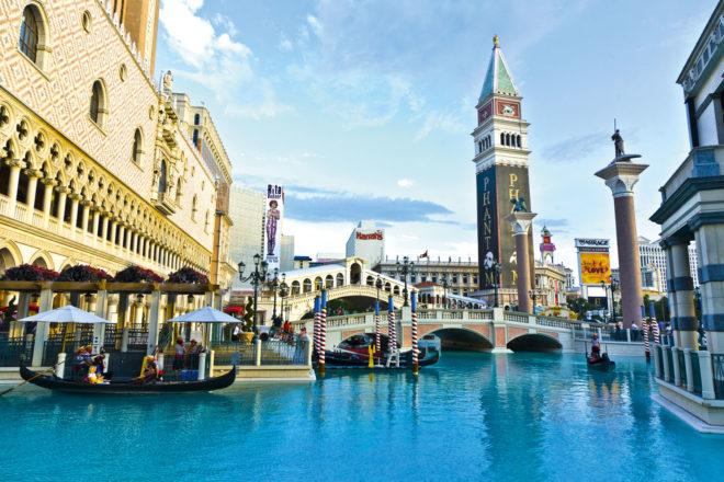 Venetian Palazzo Resort Las Vegas features gondolas around the hotel