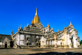 The most illustrious temple in Myanmar - the golden-spired Ananda Pahto.