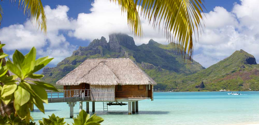 Four Seasons Resort Bora Bora with Mt Otemanu in the background
