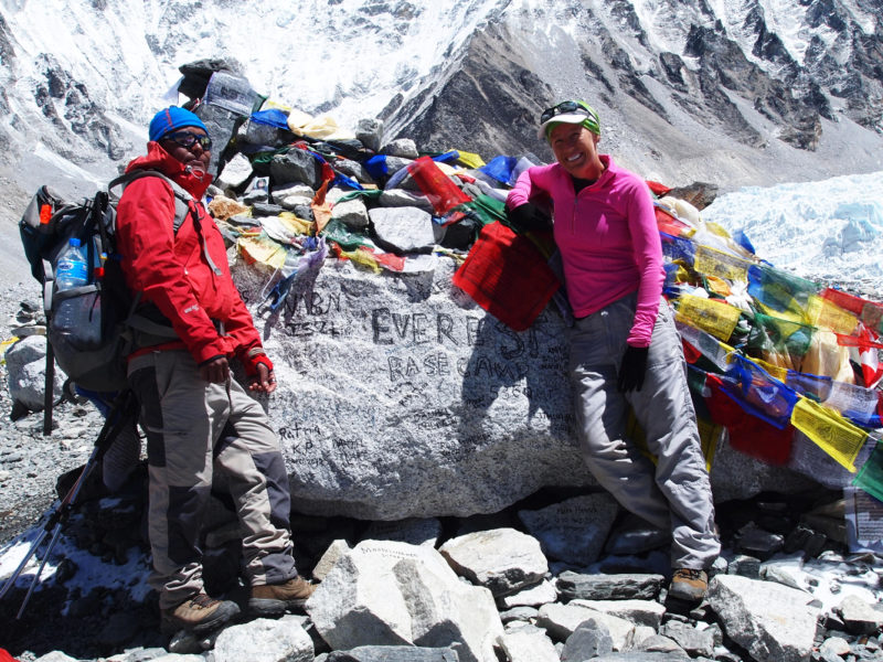 Climbing to the famed Mt Everest Base Camp, Nepal.