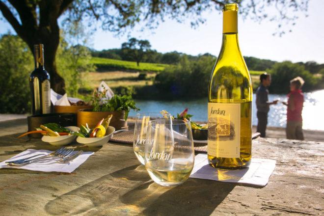 A lakeside tasting at California's iconic Jordan Winery.