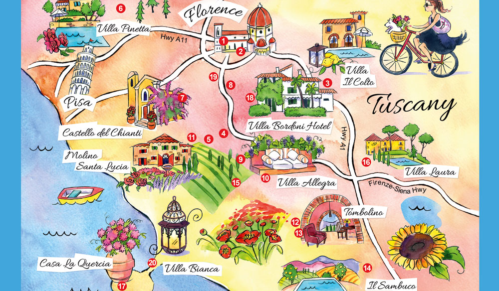 An illustrated map of Tuscany