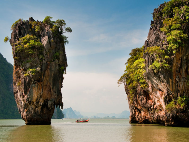 Speedboat tour around Phang Nga Bay, Phuket, Thailand.