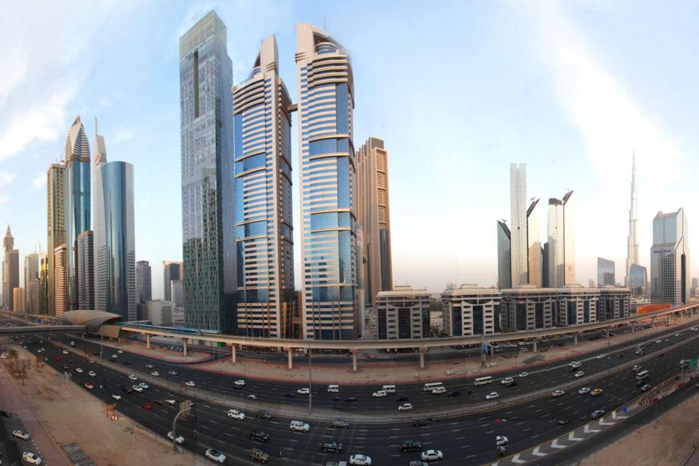 Dubai's towering city skyline.