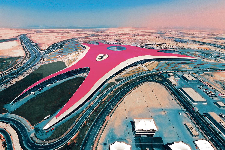 Aerial view of Ferrari World Abu Dhabi.