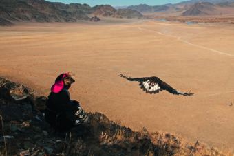 A Kazakh nomad lets his eagle fly over open terrain in the Mongolian Altai.