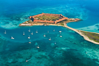19th century Fort Jefferson is quite the spectacle in Dry Tortugas National Park, Florida.