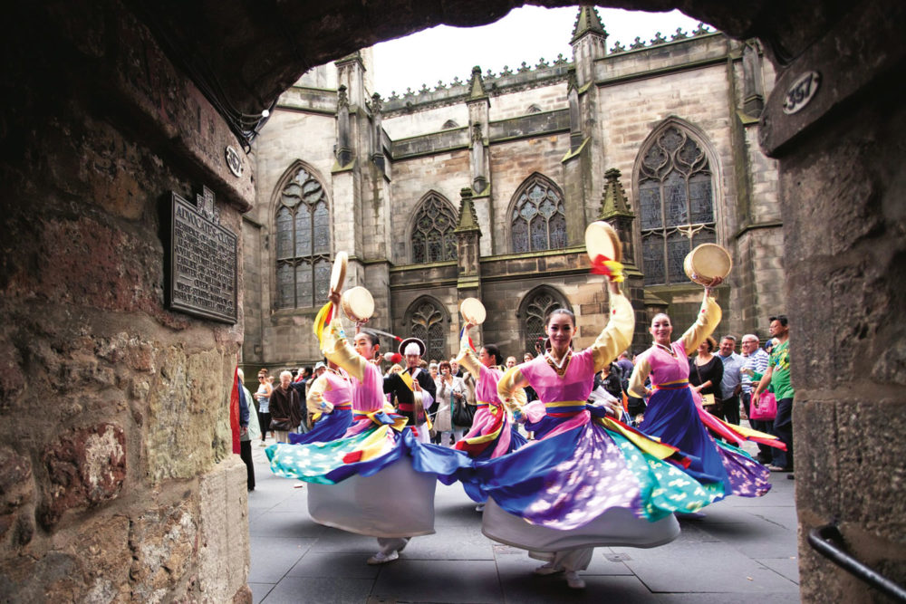 Dancers at Edinburgh Fringe Festival, Scotland.