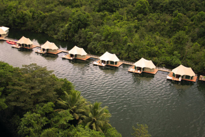 Aerial view of 4 Rivers Floating Eco-Lodge on Tatai River.
