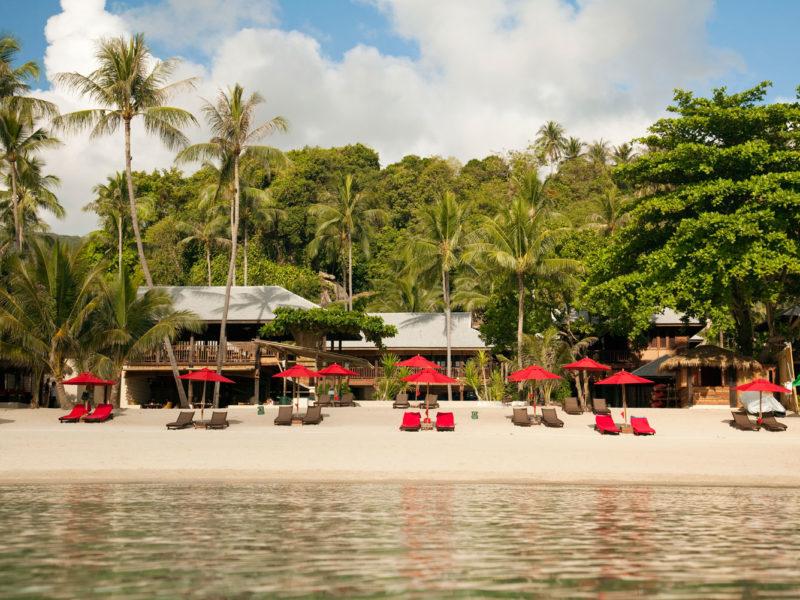 The red umbrellas of Anantara Rasananda, Koh Phangan Thailand.