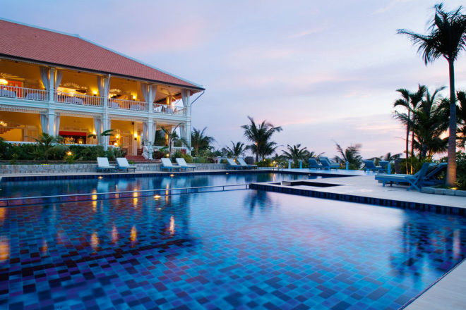 The unmissable pool at La Veranda, overlooking the beach on Phu Quoc, Vietnam.