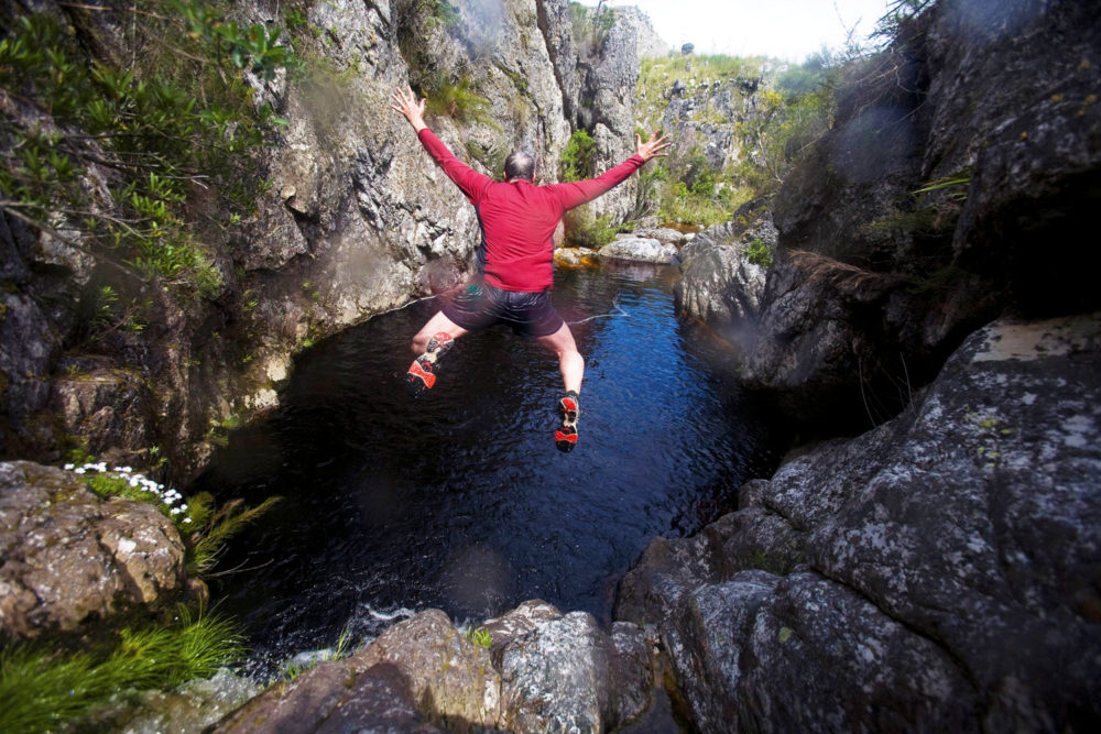 Todd Pitock tries his hand at 'kloofing' at Cape Town's Suicide Gorge.