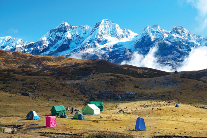 Camping at the base of Mount Kanchenjunga.