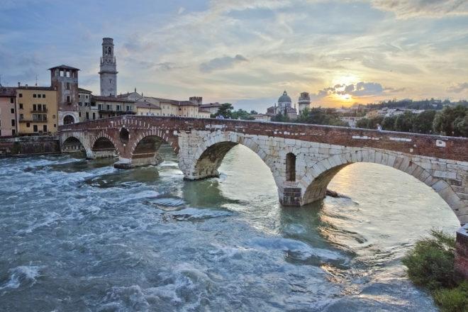 Ponte Pietra bridge in Verona, Italy. By Rob Morgan