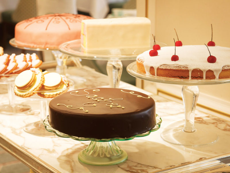 Cake time at Fortnum and Mason's Jubilee Tearoom.