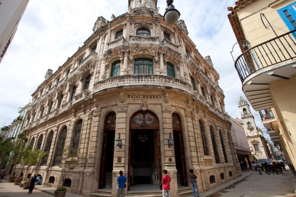 Baroque facade of Hotel Raquel in Old Havana, Cuba.