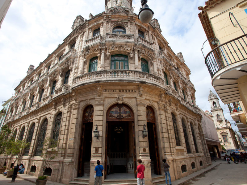 Baroque facade of Hotel Raquel in Old Havana, Cuba.