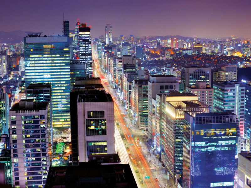 The Gangnam district in Seoul by night.