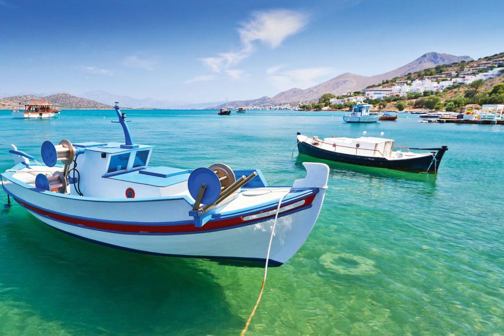 Azure waters surround Leros Island, Greece.