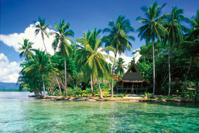 Marovo Lagoon in the Solomon Islands.