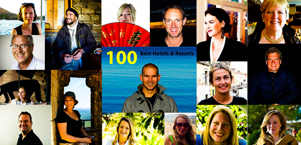The Panellists for our 100 Best Hotels and Resorts countdown: (Clockwide from top left) Claire Wrathall, Darrell Hartman, Bev Malzard, Rob McFarland, Kirstie Clements, Linda Fasteson, Daniel Scott, Gabriel O'Rorke, Kathleen Squires, Rachel Beard, Melissa Biggs Bradley, Sunshine Flint, David Whitley, Juliet Kinsman, Jim Byers, (centre) Craig Tansley & Sue Gough Henly.