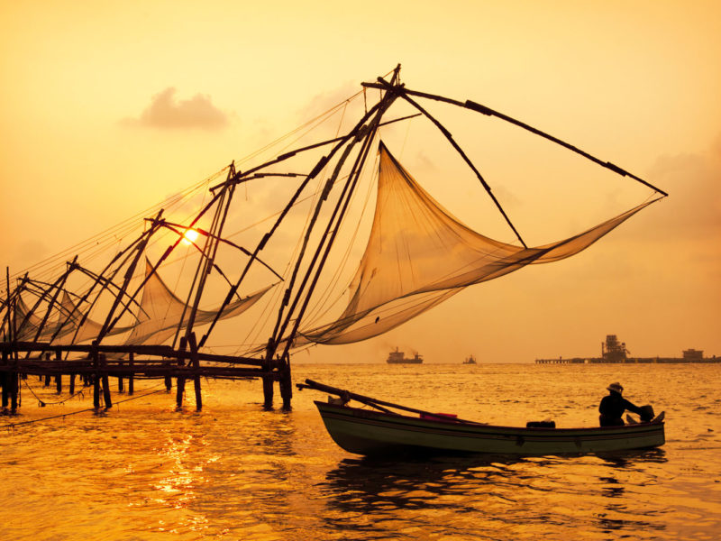 Sunset over Chinese fishing nets in Fort Kochi India.