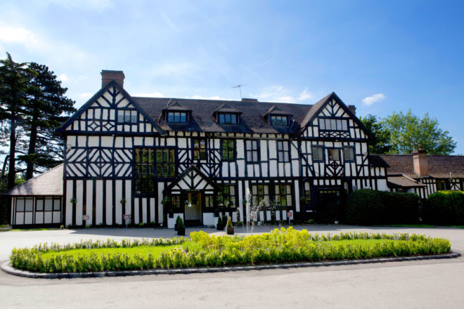 The Tudor-style Laura Ashley Manor Hotel in Hertfordshire, England.