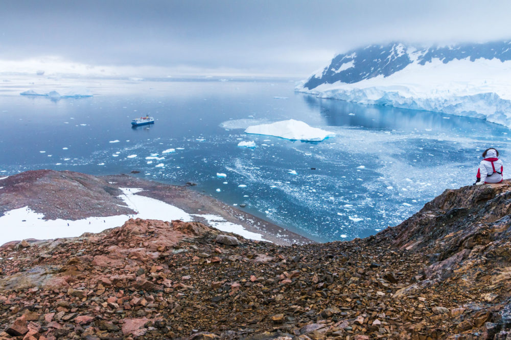 Panoramic view over glaciers and icebergs in Neko Harbour, Antarctica.
