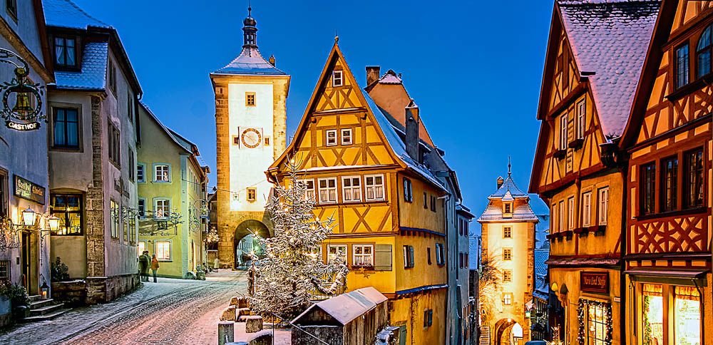 Just off the Fairytale Route is the enchanting Rothenburg ob der Tauber Plönlein square, Germany.