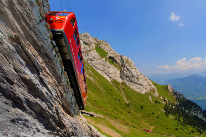 Take a journey up to the clouds on Switzerland's steepest cogwheel railway.