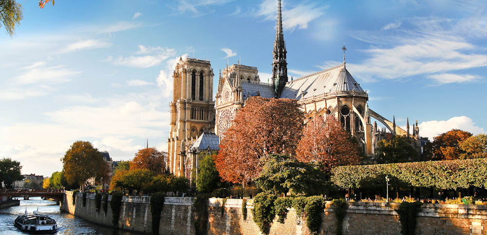 The romantic Notre Dame Cathedral on the banks of the Seine.