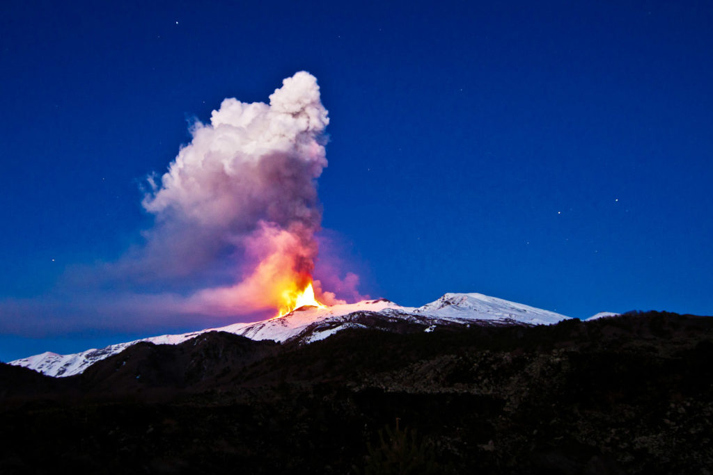 Mt Etna, an active volcano.
