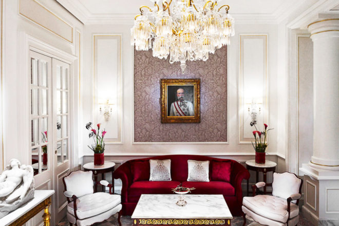 Schonbrunner Loge lounge at Hotel Sacher.