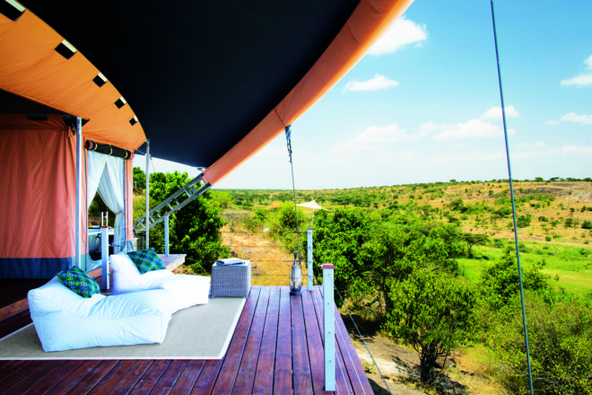 Each 'tent' at Mahali Mzuri has a private viewing deck.