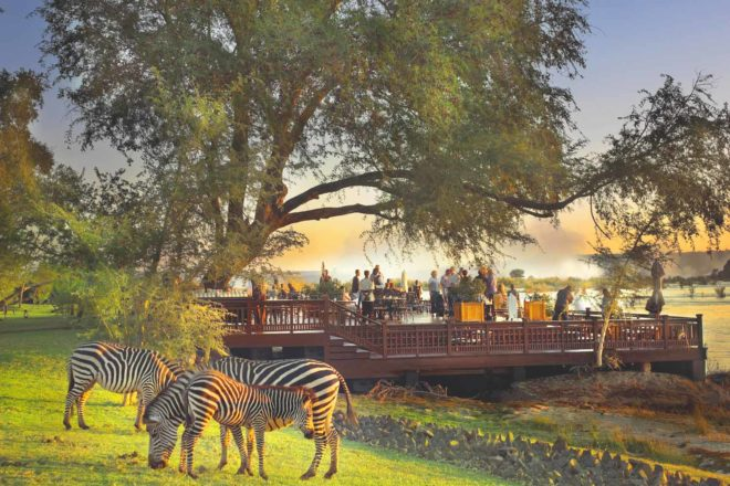The sundeck at the Royal Livingstone Hotel , Zambia