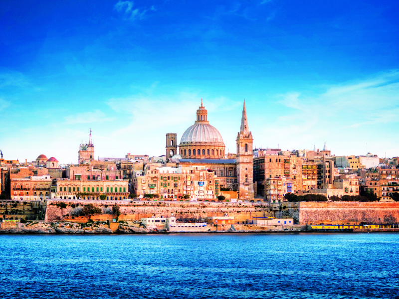 The Valletta skyline featuring St Paul's Cathedral.