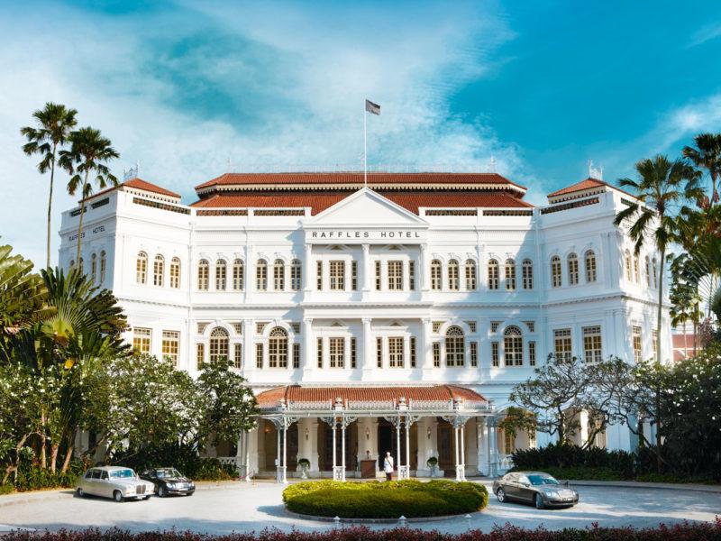 The exterior of Raffles Hotel, Singapore.