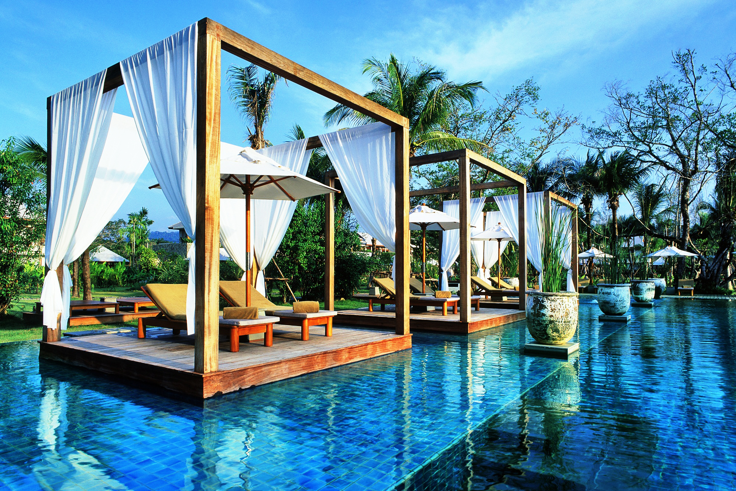 Poolside pavilions at The Sarojin resort in Khao Lak, Thailand.