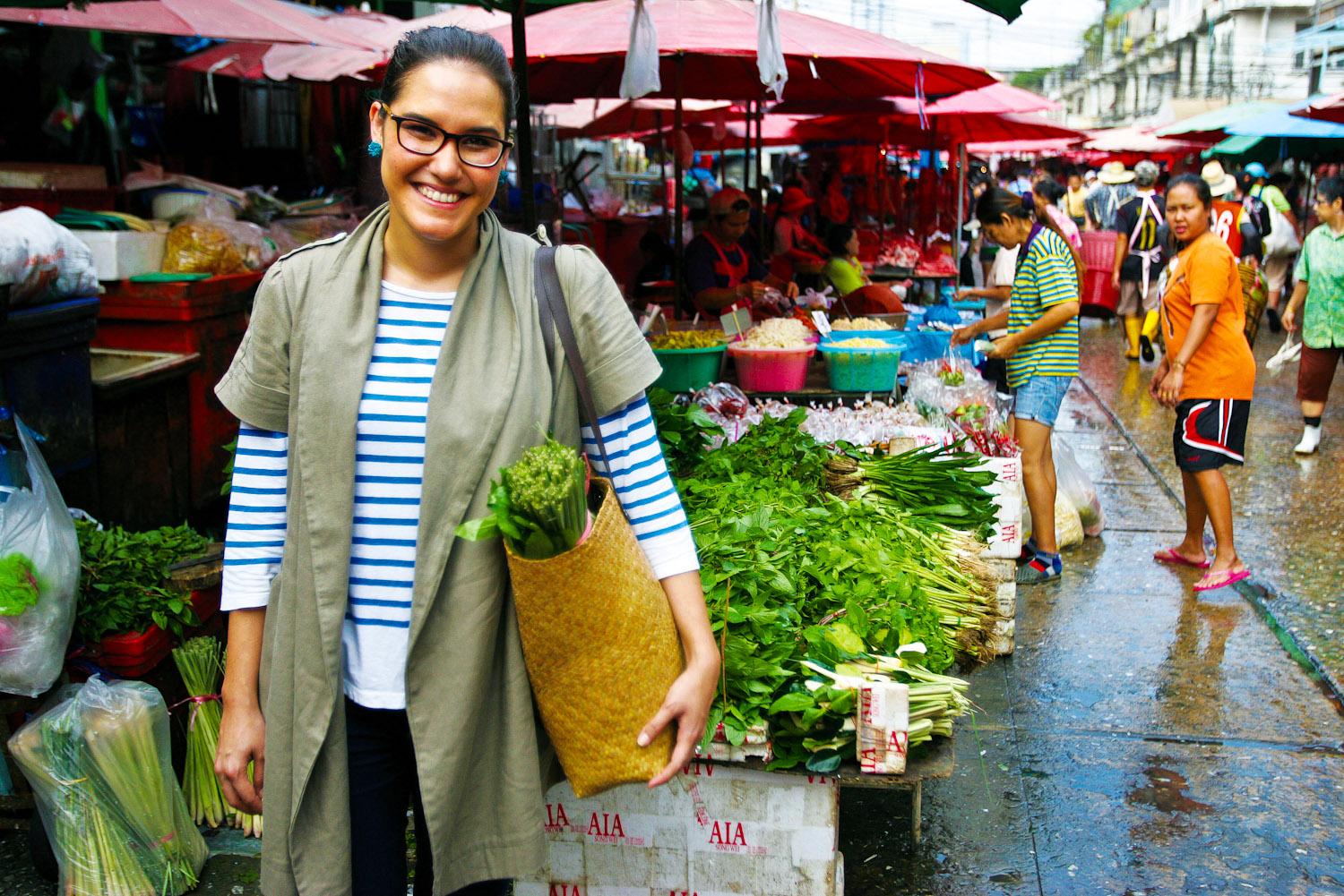 Marion Grasby at Khlong Toei market in Bangkok, Thailand.