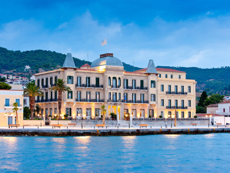 The architecture of Poseidonion Grand Hotel is reminiscent of southern France.