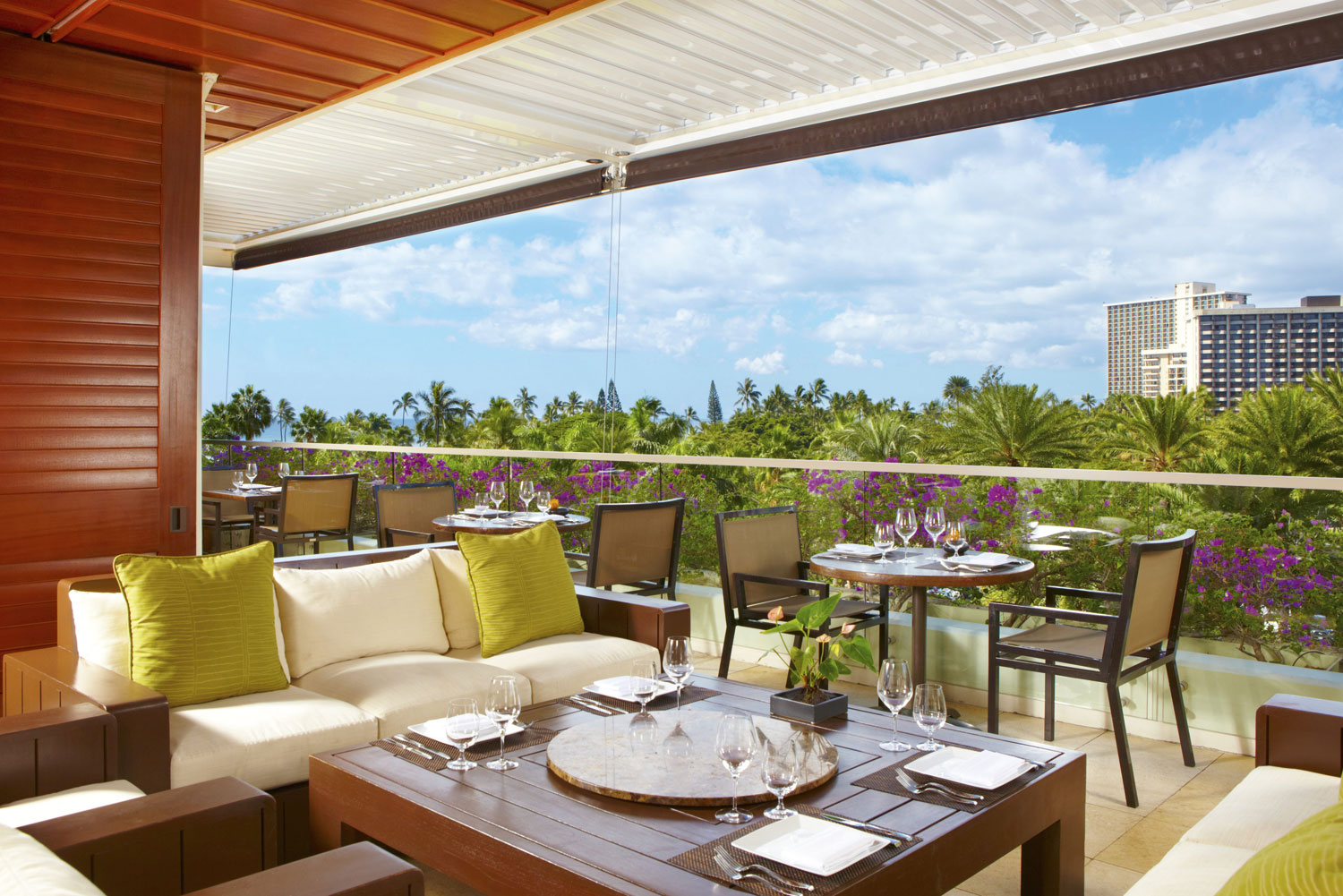 WAI'OLU ocean view lounge at Trump International Hotel Waikiki.