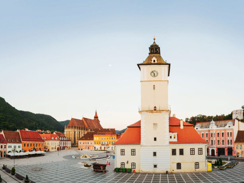 Front and centre - The clock tower overlooking Brasov's Council Square, Transylvania.