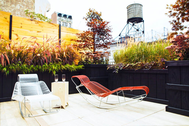 Penthouse terrace at The Boome, New York City.